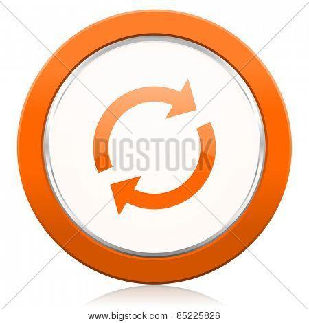 reload orange icon refresh sign