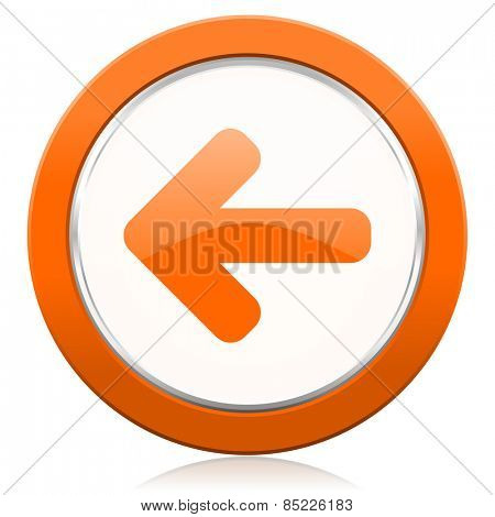 left arrow orange icon arrow sign