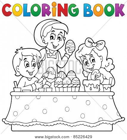 Coloring book Easter topic image 1 - eps10 vector illustration.
