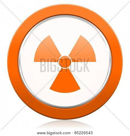 radiation orange icon atom sign