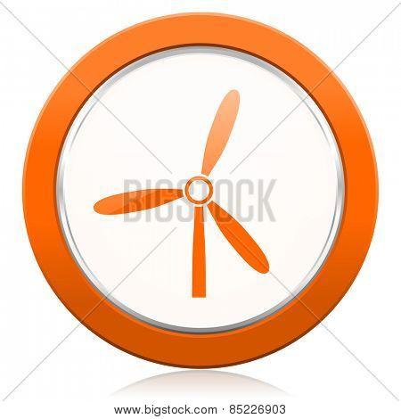 windmill orange icon renewable energy sign