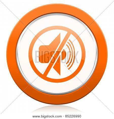 mute orange icon silence sign