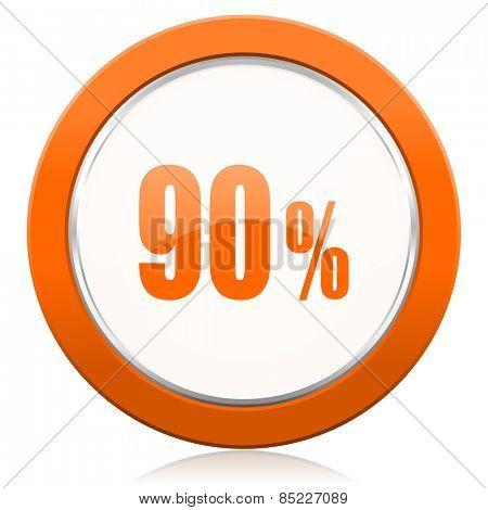 90 percent orange icon sale sign