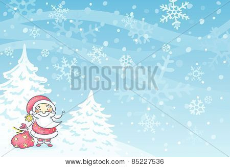 Santa with a blue background