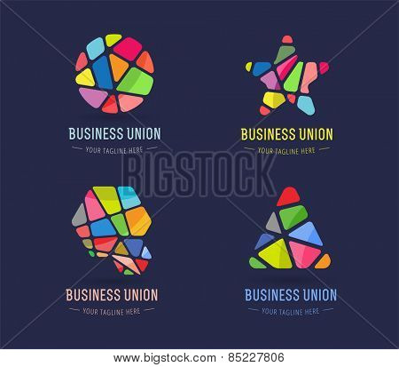 Abstract vector logo template set for branding and design