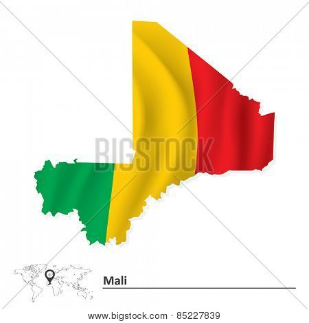 Map of Mali with flag - vector illustration