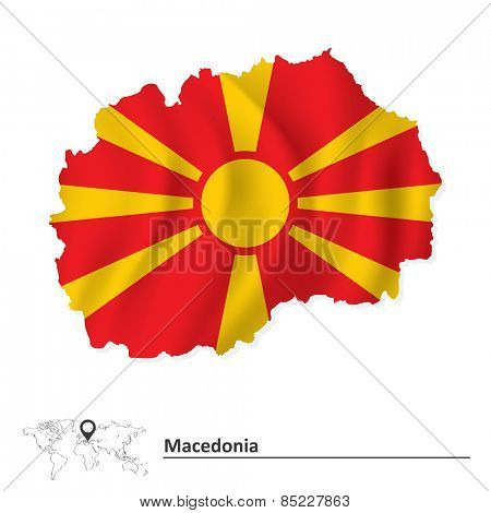 Map of Macedonia with flag - vector illustration