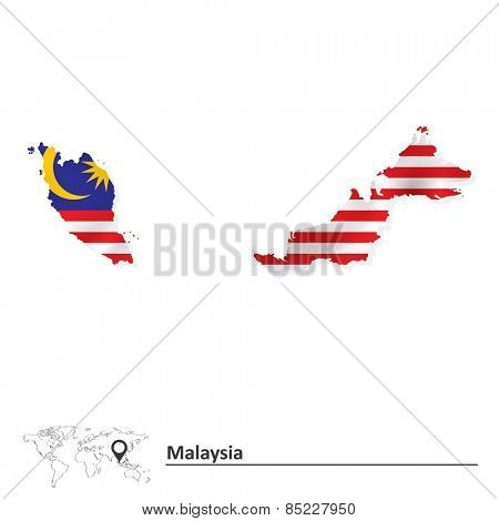 Map of Malaysia with flag - vector illustration