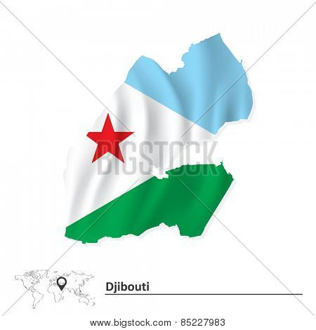 Map of Djibouti with flag - vector illustration
