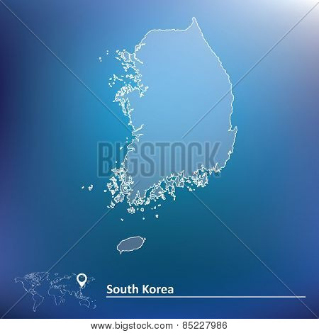 Map of South Korea - vector illustration