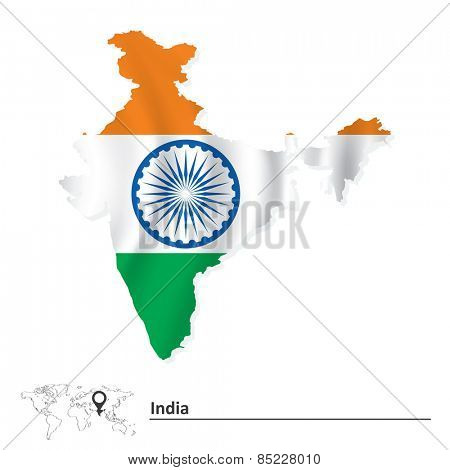 Map of India with flag - vector illustration