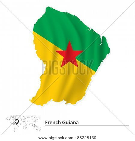 Map of French Guiana with flag - vector illustration