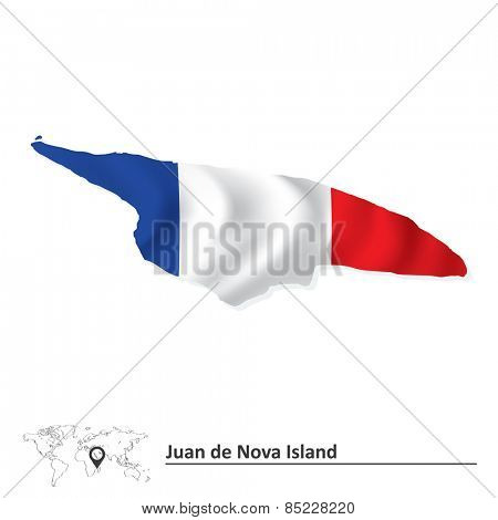 Map of Juan de Nova Island with flag - vector illustration