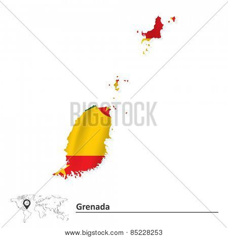 Map of Grenada with flag - vector illustration
