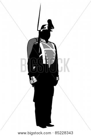 Soldiers in historic uniforms on a white background