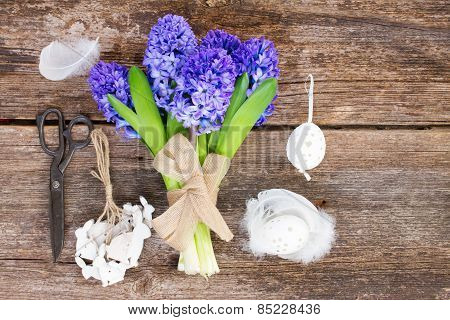 Blue hyacinth and easter set up