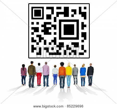 QR Code Encoding Technology Online Internet Concept
