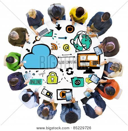 Diversity People Cloud Computing Digital Communication Meeting Concept