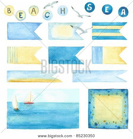 Watercolor collection of labels and banners in marine style, set 2.