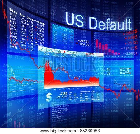 US Default Crisis Economic Stock Market Banking Concept