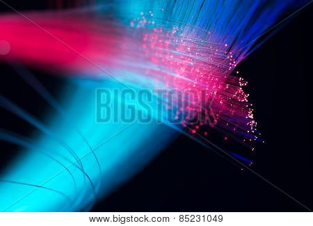 Fiber optics close-up, modern computer communication technology, blur