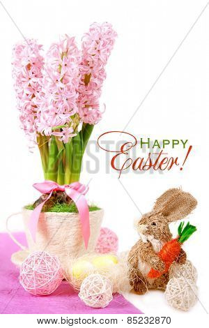Easter card: Hyacinth in a cup, rabbit with carrots