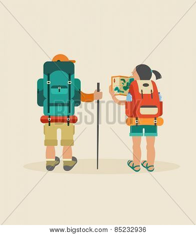 Vector vintage background with couple of backpackers, forest and hills