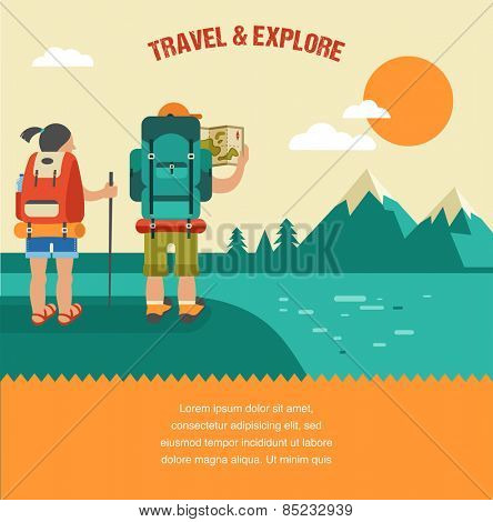 Vector vintage background with backpackers, forest, mountains and hills
