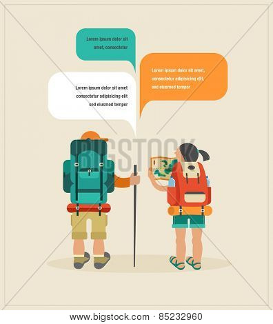 Vector vintage background with couple of backpackers and speech bubbles