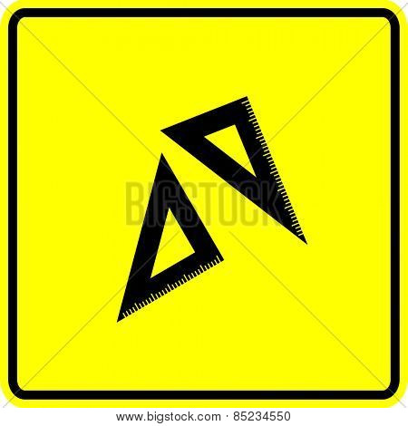 set squares or triangle rulers sign