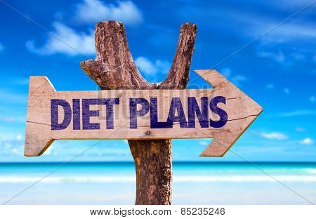 Diet Plans wooden sign with beach background