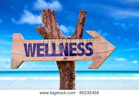 Wellness wooden sign with beach background