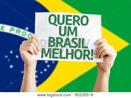 I want a Better Brazil (in Portuguese) card with brazil flag