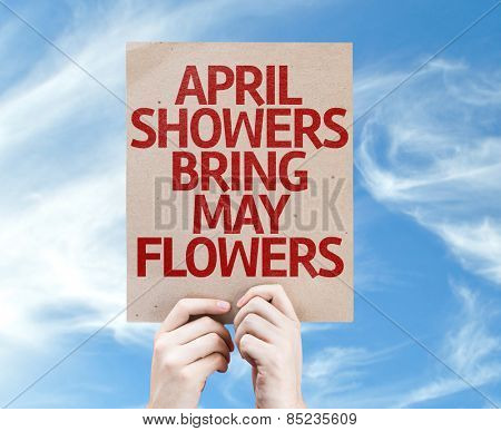 April Showers Bring May Flowers card with sky background