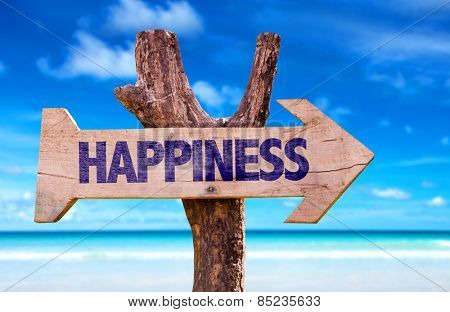 Happiness wooden sign with beach background