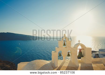 Small church on the island of Santorini, Greece