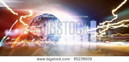 Background image with Earth planet and graphs. Elements of this image are furnished by NASA