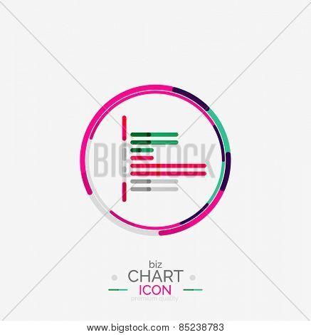Line graph, chart icon, minimal geometric design