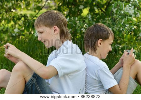 Two boys play a game