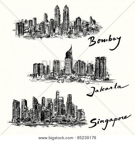 Bombay, Jakarta, Singapore skyline