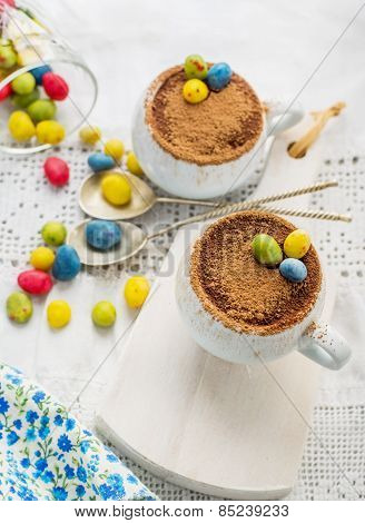 Easter cream dessert tiramisu based in portioned cups