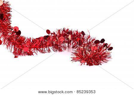 Christmas red tinsel
