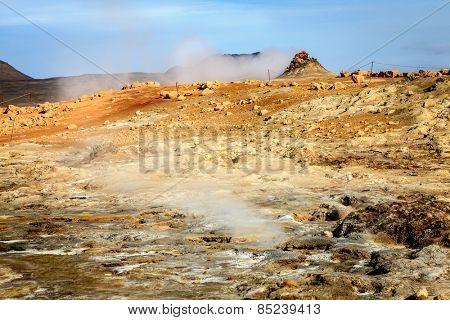 Steam vents in Hverir - geothermal field in Northern Iceland