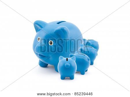 Blue piggy banks feeding from their mother
