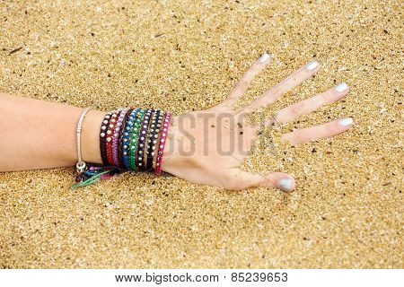 Female Hand In The Ocean