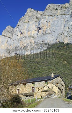 View of a stone rural house in Pyrenees.