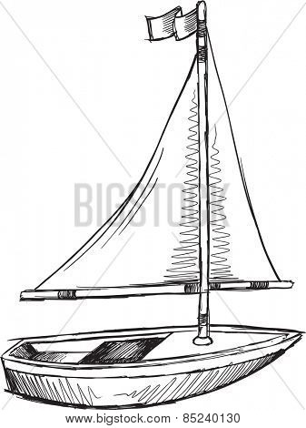 Doodle Sketch Sail Boat Vector Illustration Art