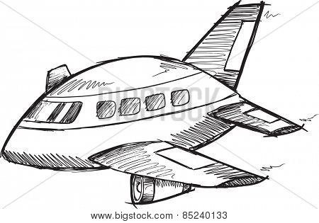 Jumbo Jet Doodle Sketch Vector Illustration Art