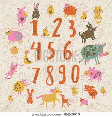Sweet learn to count concept set in cartoon style. All numbers and funny cartoon animals: cat, dog, cow, horse, rabbit and others in vector