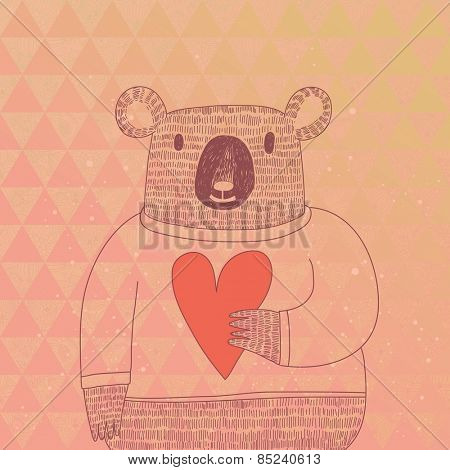Cute koala bear in hipster style. Funny koala in sweater with big heart on modern stylish geometric background in pink colors